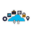 cloud computing upload download data vector image vector image