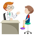 Doctor examining little boy vector image vector image