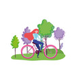 ecology young woman riding bike in outdoor vector image vector image