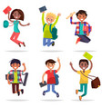excited pupils girls and boys jumping flat design vector image vector image