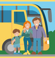 family travel bus background banner vector image