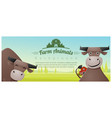 farm animal and rural landscape with cows vector image vector image