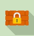 firewall padlock icon flat style vector image vector image