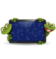Frog with gadget vector | Price: 3 Credits (USD $3)