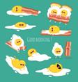 funny breakfast set comic characters vector image vector image