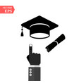 graduation cap and diploma black web icon vector image