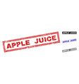 grunge apple juice scratched rectangle watermarks vector image vector image