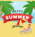 happy summer holidays poster elegant girl vector image