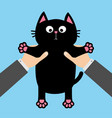 human businessman hand holding black cat funny vector image vector image