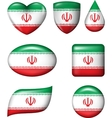 Iran flag in various shape glossy button vector image vector image