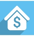 Loan Mortgage Long Shadow Square Icon vector image