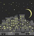 night city skyline silhouette with cartoon vector image vector image