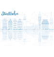Outline Stockholm Skyline with Blue Buildings vector image vector image