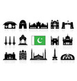 pakistan travel landmarks icon set vector image vector image