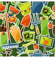 Seamless pattern with garden sticker design vector image vector image