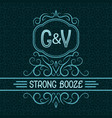 Strong booze label design template patterned