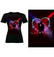 t-shirt design with silhouetted couple vector image vector image
