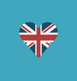 united kingdom flag icon in a heart shape in flat vector image