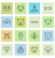 zoo icons set collection of marsupial grizzly vector image vector image