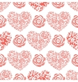 Seamless pattern with red hearts and roses vector image