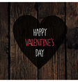 valentines heart with greetings on wooden texture vector image
