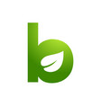 b initial for leaf logo template vector image vector image