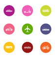 beach transport icons set flat style vector image