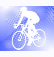 bicyclist on the abstract halftone background vector image vector image