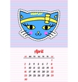 Calendar 2017 with cats April In cartoon 80s-90s vector image vector image