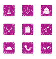 carnival icons set grunge style vector image vector image