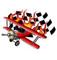 cartoon fighter plane twin-engine vector image vector image
