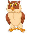 cartoon happy owl isolated on white background vector image vector image