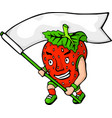 cartoon red angry strawberry with white flag vector image vector image