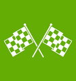 checkered racing flags icon green vector image vector image