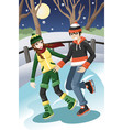 couple ice skating vector image