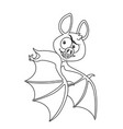cute halloween bat flying outlined for coloring vector image vector image