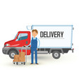 delivery truck van and man service background man vector image vector image