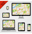 digital devices with gps map on screen vector image vector image