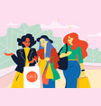 female friends go from store with shopping vector image vector image