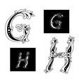 Floral capital letters G and H vector image vector image