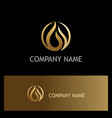 gold water drop oil logo vector image vector image