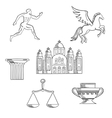 Greece culture and history icons vector image