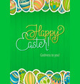 happy easter greeting card green wooden vector image vector image