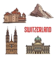 Historic architecture buildings of Switzerland vector image vector image