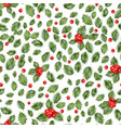 holly berry seamless pattern eps 10 vector image vector image