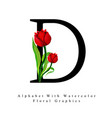 letter d watercolor floral background vector image vector image