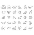 linear collection animal icons vector image vector image