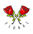 logo two red roses vector image