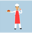 male chef cook character in uniform holding a cake vector image vector image