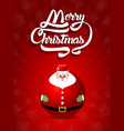merry christmas lettering text with santa claus vector image
